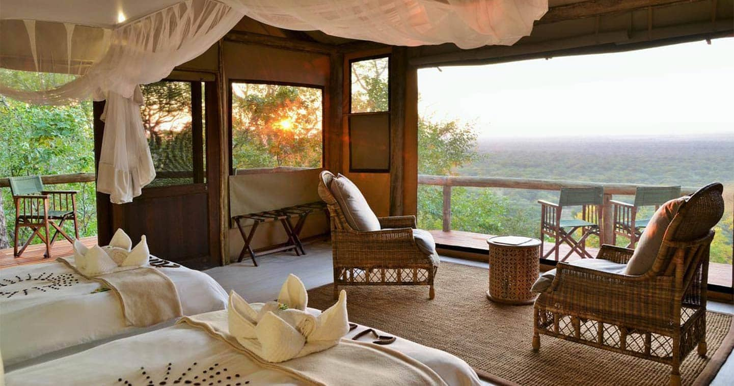 View from a Ghoha Hills Savuti Lodge Suite at the Bush