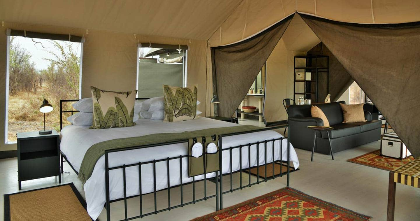 Luxury tented safari accommodation in Chobe at Nogatsaa Pans Lodge
