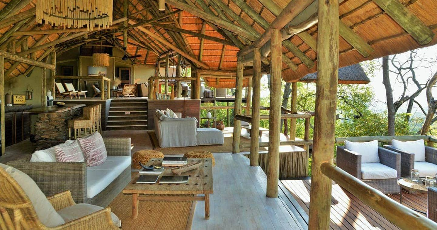 The lounge at Ghoha Hills Savuti Lodge in the Chobe National Park in Botswana