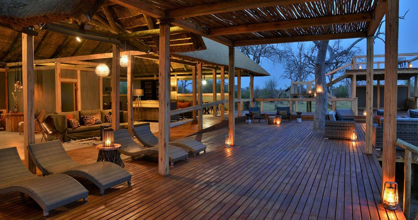 The lounge deck at Nogatsaa Pans in Chobe