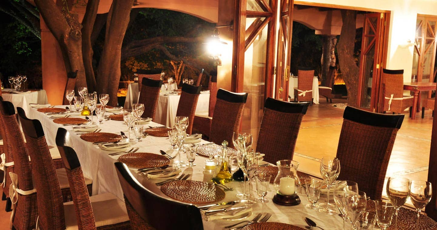 Luxury Sanctuary Chobe Chilwero Dining Room in Chobe National Park